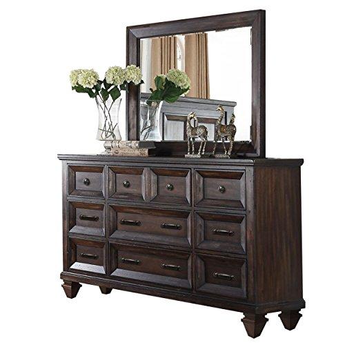 NCF Sarzana Rustic Mediterranean 9 Drawer Dresser & Mirror Set in Aged Walnut