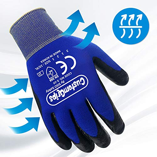 CustomGrips Cut Resistant Work Gloves. Slim Span-Nylon Liner, Level 3 Abrasion Resistance, Nitrile Foam Palm Coated. Superior Breathability & Grip for All Day Comfortable Wear. [X-Large, 6 Pairs]