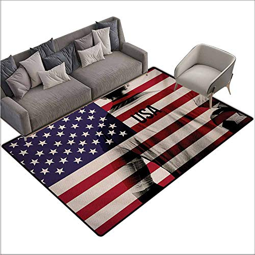 Door Rug Area Rug Soccer Composite Double Exposure Image of A Soccer Player and American Flag USA Run Easy to Clean Carpet W70 xL82 Beige Blue Red