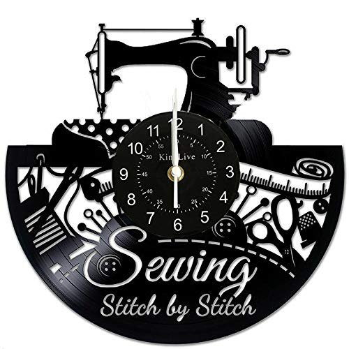 Sewing Machine Vinyl Record Wall Clock Great Idea for Tailor Outfitte Dressmaker (Sewing Machine Vinyl)