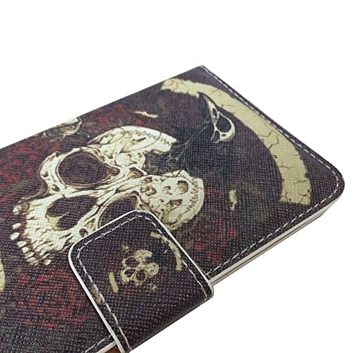 Uming Retro Print La caja del teléfono Funda protectora del estampado de flores para Motorola MotoG Moto G Note Book Style Material del paño Sew PU-cuero de la pistolera de cuero del tirón con el sopo Black Skull