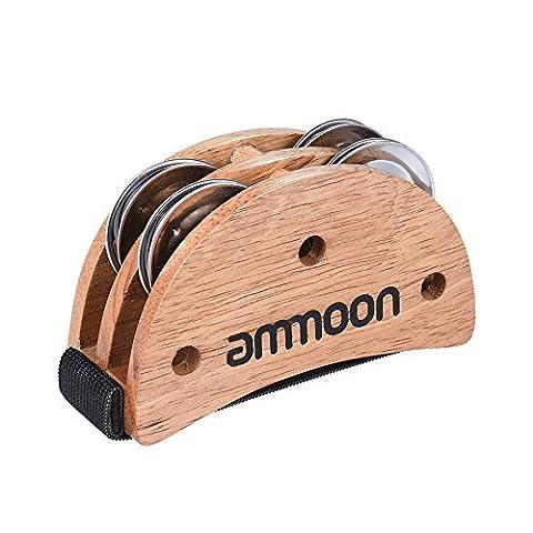 ammoon Elliptical Cajon Box Drum Companion Accessory Foot Jingle Tambourine for Hand Percussion Instruments (Musical Instrument Accessories)