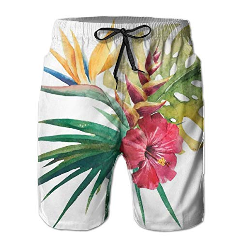 lsrIYzy Men Swim Trunks Beach Shorts,Wild Tropical Orchid Flower with Large Leaves Exotic Tropic Petals Picture M