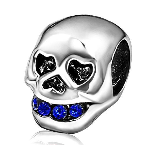 KunBead Skull Heart Blue September Charms Bead Bracelets Halloween]()