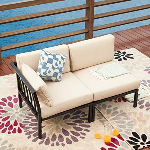 LOKATSE HOME 2 Piece Corner & Armless Sofa Outdoor Furniture Sectional Couch Set Patio Loveseat, 2Pcs, Khaki Cushions