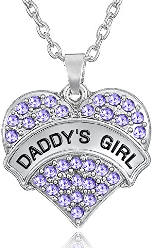 'Daddy's Girl' Heart Necklace for Daughters, Birthday Jewelry Gifts from Father/Dad, Stocking Stuffer for Little Girls and Teens (Purple)