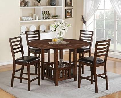Wondrous Amazon Com 5 Pc Theodora Walnut Finish Wood Square Round Ncnpc Chair Design For Home Ncnpcorg