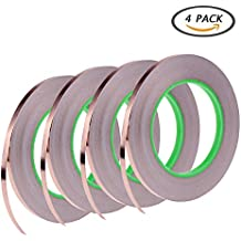4 Pack Copper Foil Tape,Conductive Adhesive for EMI Shielding,Slug Repellent,Paper Circuits,Electrical Repairs,Grounding(1/4inch)