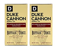 BIG AMERICAN BOURBON SOAP - Pack of 2  In the early days of the American Frontier, rugged pioneers indulged with a dry buffalo steak and a pull of whiskey, not a $12 appletini and a plate of bruschetta. Duke Cannon honors that independent, pi...