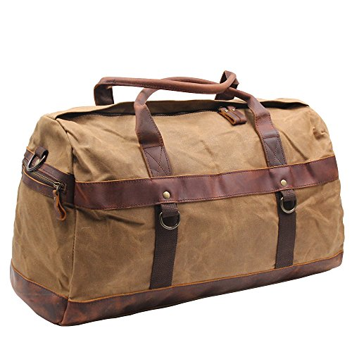 Vintage Duffel Bags Large Waxed Canvas Travel Luggage Weekender Overnight Tote bags Water Resistant Carry On Leather Sports Gym Bag Ideal Gift for Man Boyfriend Husband (Khaki Duffel)