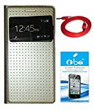 TBZ S-View Dotted Flip Cover Case for Samsung Galaxy Grand 2 with Screen Guard and Aux Cable -Golden