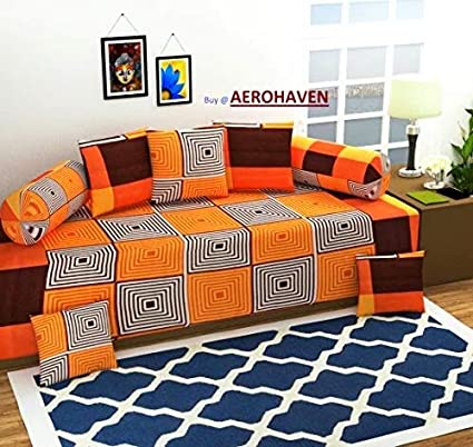 Choice Homes 3D diwan Set Printed 8 Piece of Combo 5 Cousins and 2 Bolster with Single bedsheet