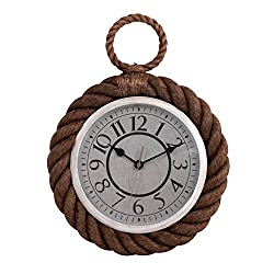 Ashton Sutton CX1427 Rope Pocket Watch Quartz Analog Wall Clock, 13.75-Inch