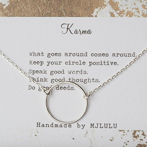 Simple Minimal Karma Circle Sterling Silver (Silver Circle Necklace)