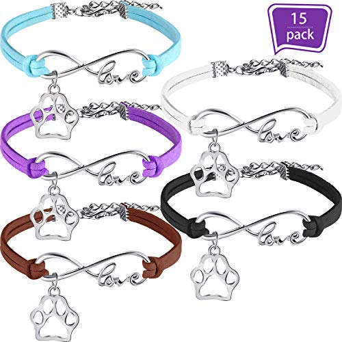(15 Pack Puppy Paw Print Paw Bracelets for Kids Adult Adjustable Charm Bangle Bracelets Puppy Dog Cat Animal Themed Party Favors)