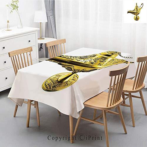 - Natural Cotton Linen Rectangle Tablecloth Garden Botanic Print Pattern Country Rustic Village Burlap Table Cover Cloth Art,55x87 Inch,Arabian,Aladdin`s Magic Genie Lamp Wish Mystery Magic Wonder Adven
