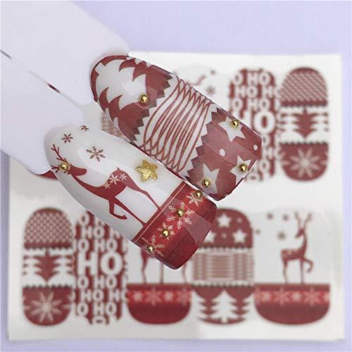 (Nail Art Nail Sticker New Year Slider Tattoo Christmas Water Decal Santa Claus Snowman Full Wraps Designs Decals)