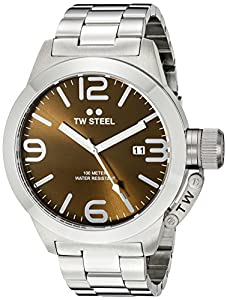TW Steel Canteen Unisex Quartz Watch with Brown Dial Analogue Display and Silver Stainless Steel Bracelet