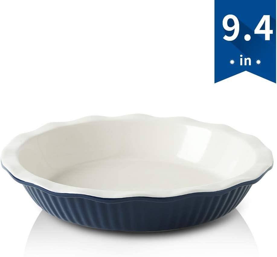 KOOV Ceramic Pie Pan, 9 Inches Pie Plate, Pie Dish for Dessert Kitchen, Round Baking Dish for Dinner (Navy Blue)