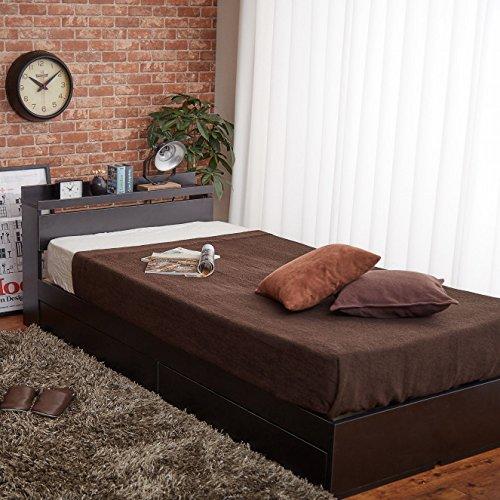 【シングル】 シンプルな収納ベッド 【オリジナルポケットコイル】 ブラック   B01M4S9CAR