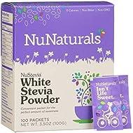 NuNaturals White Stevia Powder, All Purpose Natural Sweetener, Sugar-Free, 100 Packets
