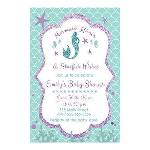 30 invitations mermaid girl baby shower party personalized purple teal photo paper -