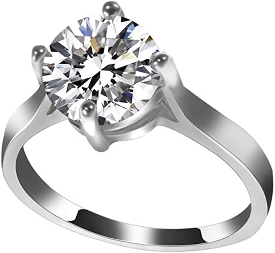 Amazon Com Temego Cz Solitaire Engagement Rings 14k Silver Simple Plain High Polished Wide Wedding Bands Size 6 9 Jewelry