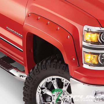 Topline Autopart Pocket Rivet Bolt Style Fender Flares (Matte Black) JR For 14-16 Chevy Silverado 1500 6.5 Feet 78″ / 8 Feet 96″ Long Bed