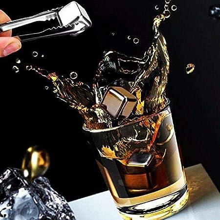 YOU+ - Juego de 8 cubos de hielo reutilizables de acero inoxidable, para whisky Vodka y cerveza de vino y todas las bebidas