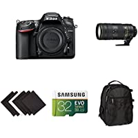 Nikon D7200 DX-format DSLR Body (Black) Compact Zoom and Telephoto Lens Kit w/ AmazonBasics Accessories