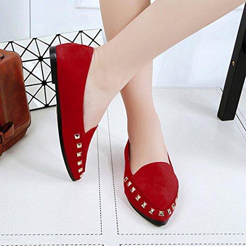 Inkach Dames Platte Schoenen Met Klinknagel - Dames Comfortabele Comfortabele Instappers Bootschoenen Rood