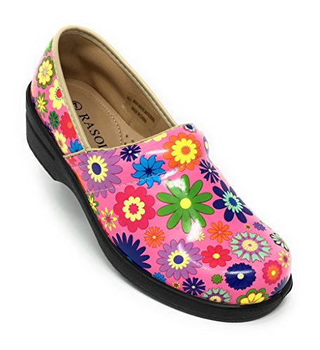 Back Flower Professional Clogs Closed Power Pink Rasolli Women's q1Ogtw7x