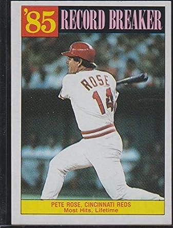 1986 Topps Pete Rose Reds Record Breaker Baseball Card 206 At