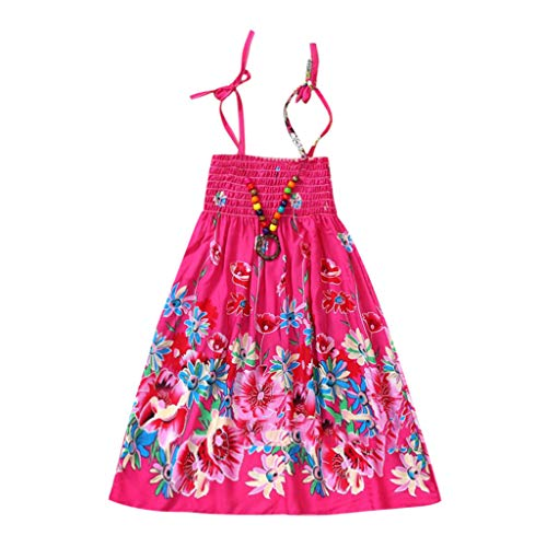 Girls Floral Tank Dresses Infant Kids Baby Clothes Vestidos Bohemian Beach Straps Dress (3-8Y) Red