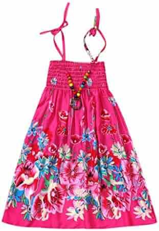 ddecea04b0e Girls Floral Tank Dresses Infant Kids Baby Clothes Vestidos Bohemian Beach  Straps Dress (3-