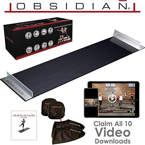 (Obsidian Slide Board - 5' Foot Slide Board with Reinforced End Stops for High Intensity and Low Impact Exercise)