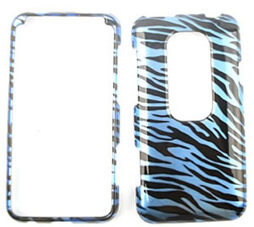 (HTC Evo 3D Transparent Design, Blue Zebra Print Hard Case/Cover/Faceplate/Snap On/Housing/Protector )