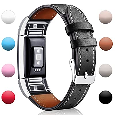 Hotodeal Fitbit Charge 2 Replacement Bands, Classic Genuine Leather Wristband With Metal Connectors, Charge 2 Fitness Strap, Large Small
