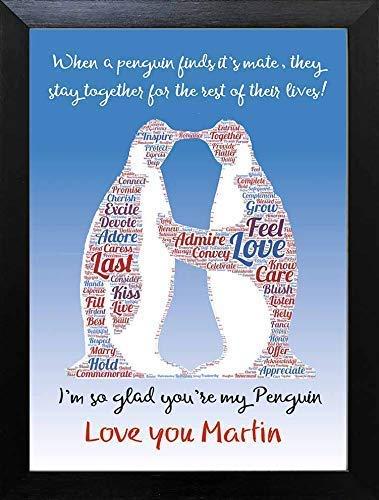 Kissing Penguins Couples Christmas Birthday Keepsake Personalised Wall Print Gift