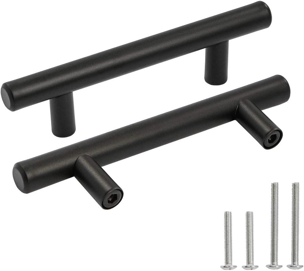 "OCQ 10 Pack Matte Black Round Bar Cabinet Pulls 3"" Hole Center 5"" Length, Stainless Steel Drawer Dresser Pulls Handles Furniture Hardware"