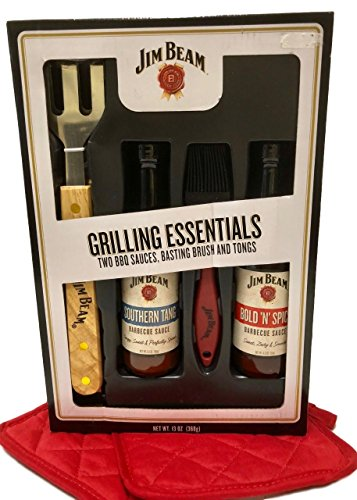 6 Piece Jim Beam Grilling Barbecue Sauces, Basting Brush and Tongs Bundle - Fathers Day, Birthday, Hostess Gift