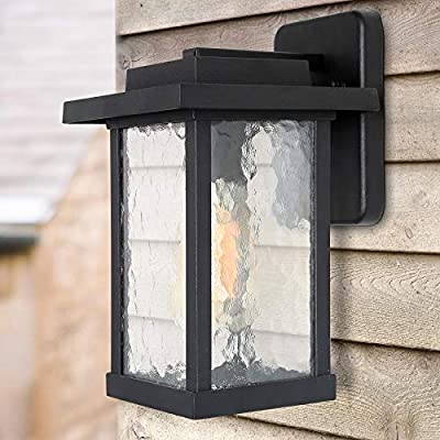 LALUZ A03321S Outdoor Light Fixture, Farmhouse Exterior Wall Lantern in Black with with Textured Glass