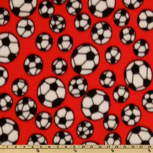 Textile Creations Sports Fleece Soccer Balls Red Fabric by The Yard,]()