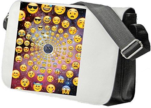 """Schultertasche """"Mondgesicht mit Smileys im Weltraum"""" Schultasche, Sidebag, Handtasche, Sporttasche, Fitness, Rucksack, Emoji, Smiley"""