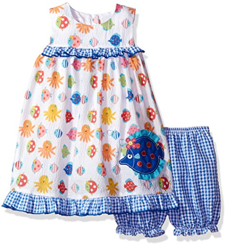 Seersucker Sundress (Bonnie Jean Toddler Girls' Sleeveless Seersucker Printed Dress and Panty Set, Blue, 4T)