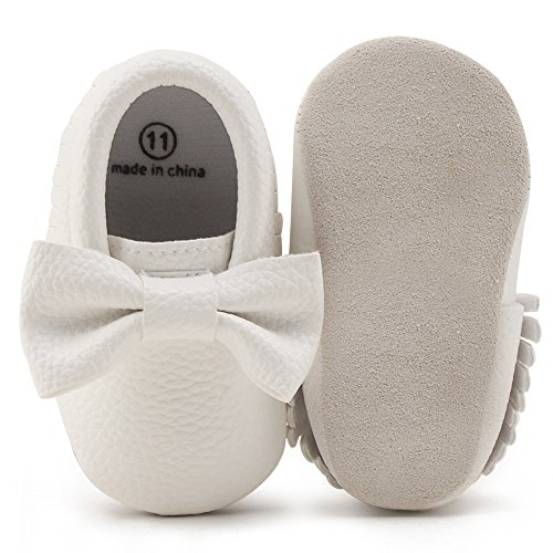 OOSAKU Infant Toddler Baby Soft Sole PU Leather Bowknots Shoes (0-6 Months, White 02)