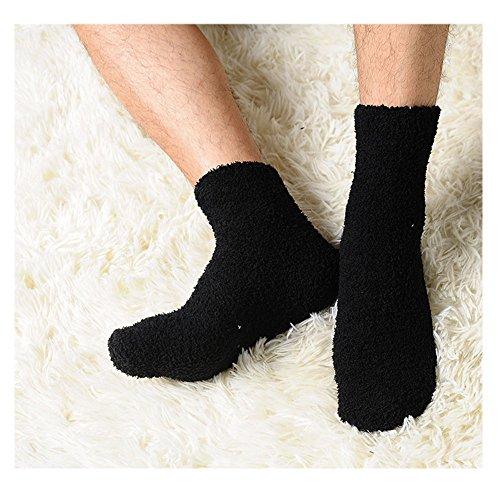 Slaxry Unisex Winter Warm Comfortable Fluffy Cashmere Socks Soft Fuzzy Floor Socks (Black)