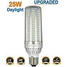 25W LED Corn Bulb 2900 Lumen 200 Watt Equivalent 6500K Cool Daylight Super Bright Non-Dimmable LED Lamp for Garage Factory Warehouse Barn Backyard Highway E26/E27 Medium Screw Base