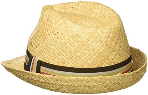 e31a7e965 Henschel Men's Hand Woven Soft Straw Fedora with Striped Band ...