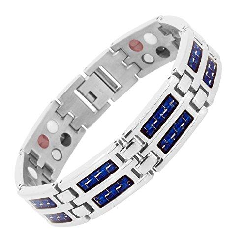 Mens Titanium Silver Tone Link Chain Extra Strong Magnetic Bracelet (Blue Carbon - Wood Fiber Carbon